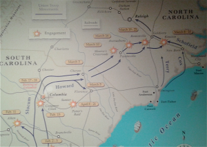 Map of Sherman's Carolina's Campaign from  Savannah, Ga. to Durham Station, NC.