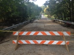 A Columbia neighborhood bridge closes after Rawls Creek floods on October 4.
