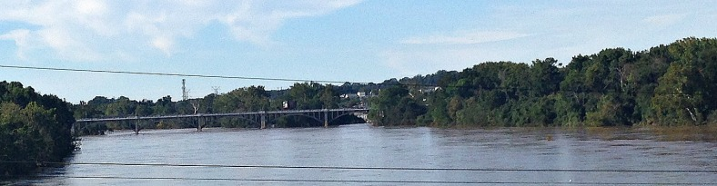 Flooding at the Congaree River under the Gervais St. bridge.